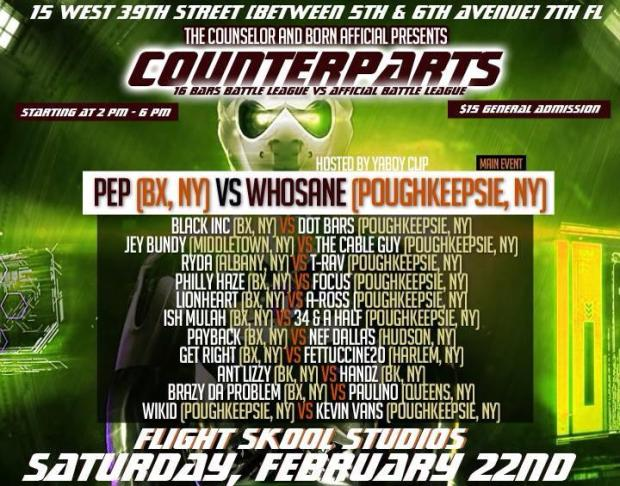 "16 BARS BATTLE LEAGUE – feb 22nd The Counselor presents: ""COUNTERPARTS"" feat. BRAZY Da Problem (Bronx) vs Melo Malo PAULINO (Queens)"